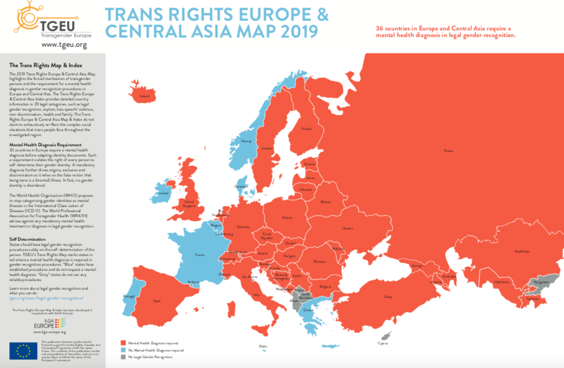 TGEU trans rights europe & central asia map 2019
